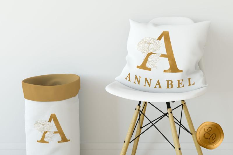 gold-botanical-alphabet-foil-peony-line-art-monogram