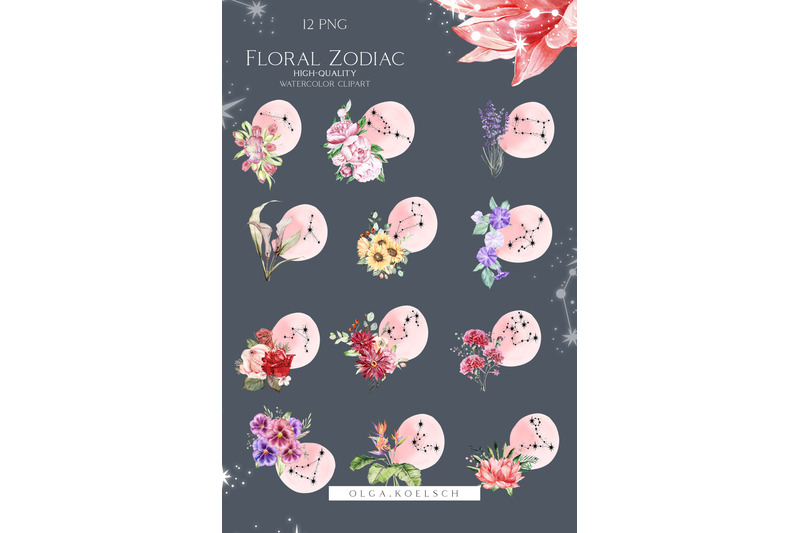 watercolor-floral-zodiac-clipart-constellation-clipart-celestial-png
