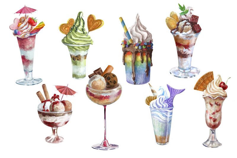 ice-cream-and-dessert-clipart-summer-clipart-watercolor-clipart