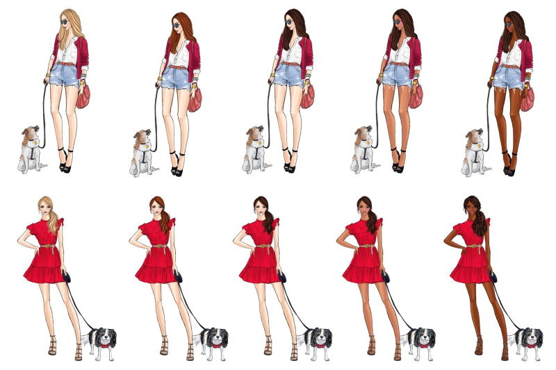 girls-with-dogs-fashion-clipart-set