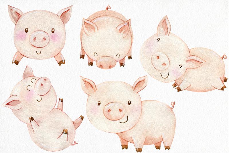 watercolor-pigs