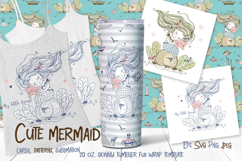 skinny-tumbler-png-cute-mermaid-clipart-sublimation-png-svg