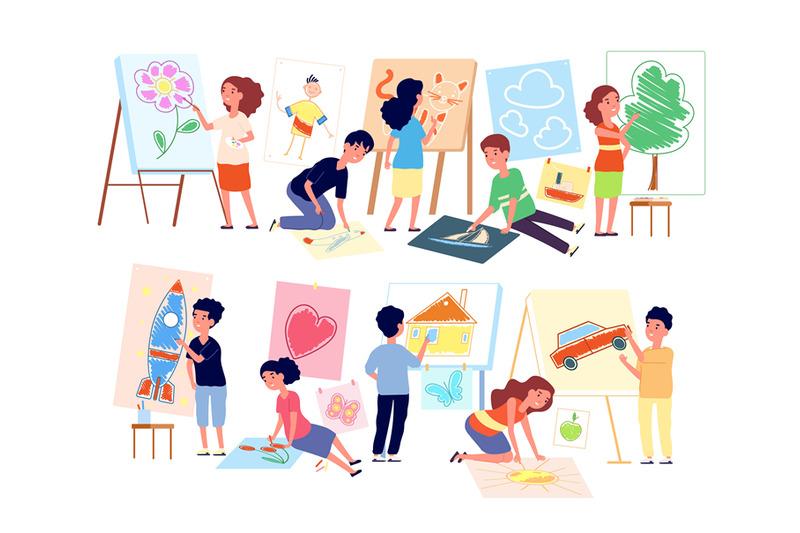 kids-drawing-pictures-children-playing-craft-boy-creating-art-flat