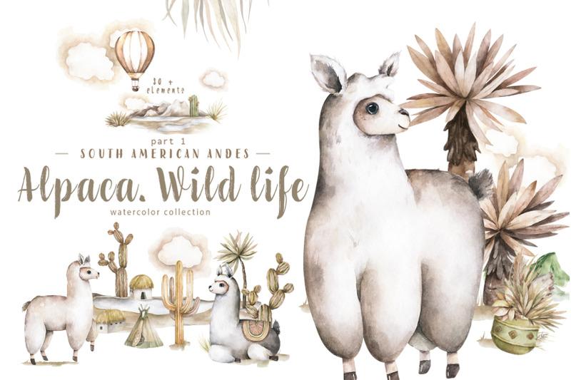 alpaca-cute-wildlife-watercolor-set