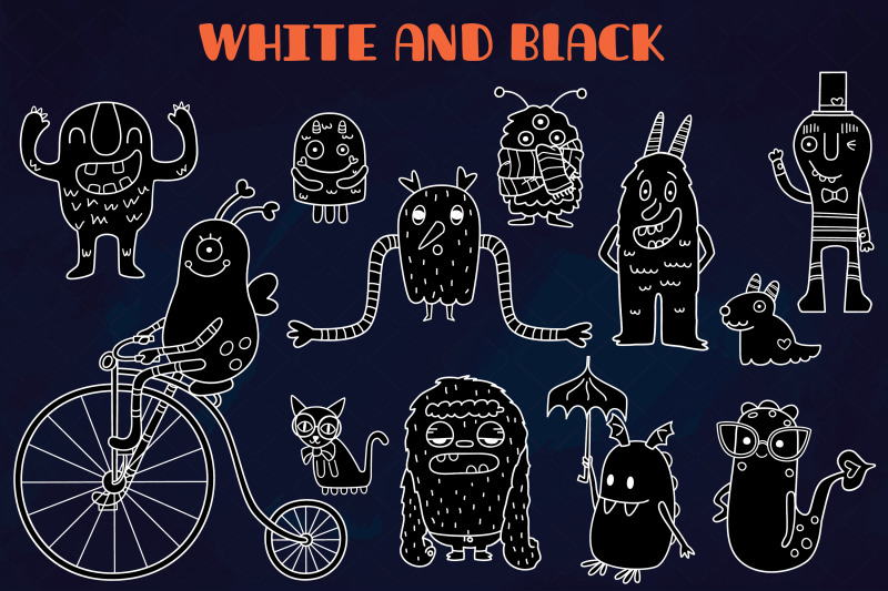 white-friendly-monsters-hand-drawn-fun-characters-sea-creatures