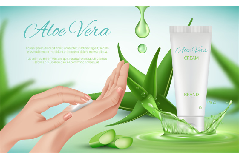 aloe-vera-cream-woman-skin-care-ads-hands-cosmetics-tubes-splashes-gr
