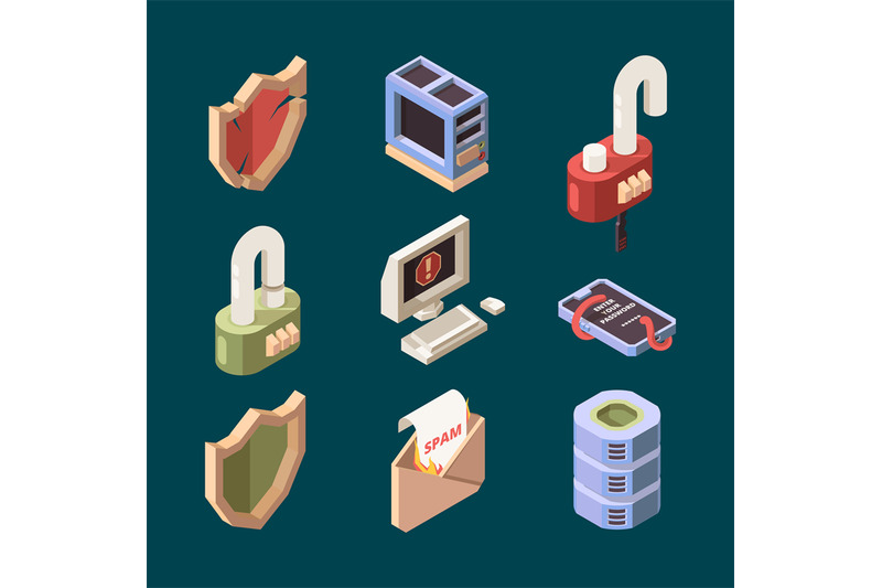 hacker-isometric-cyber-security-email-spam-computer-viruses-online-dd