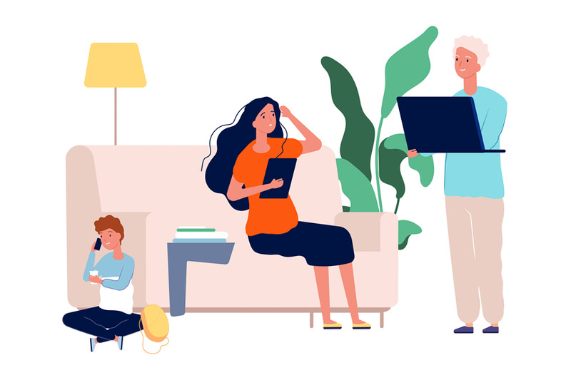 gadget-addiction-family-with-laptop-tablet-and-smartphone-parents-a