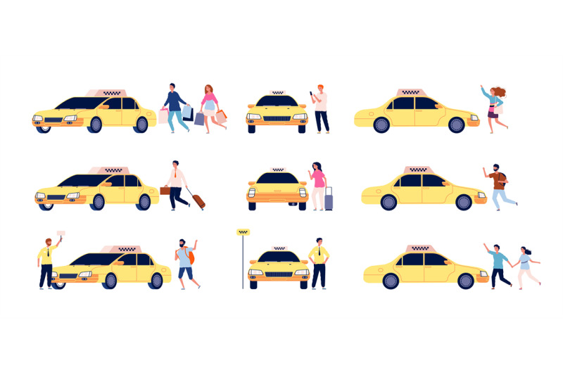 characters-and-taxi-person-car-passengers-and-taxi-driver-standing-ne