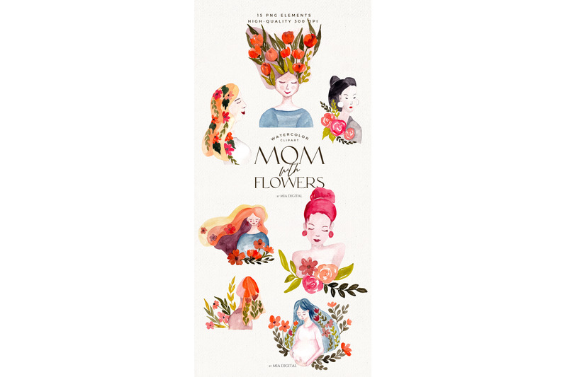 watercolor-mom-with-flowers-clipart-happy-mother-amp-039-s-day-png-clip-art