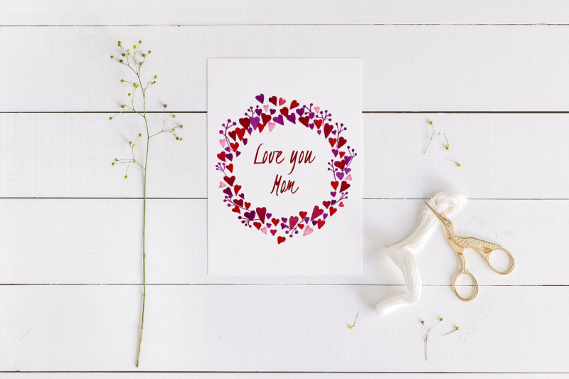 mother-039-s-day-card-with-heart-wreath-love-you-mom-card-5x7-inch