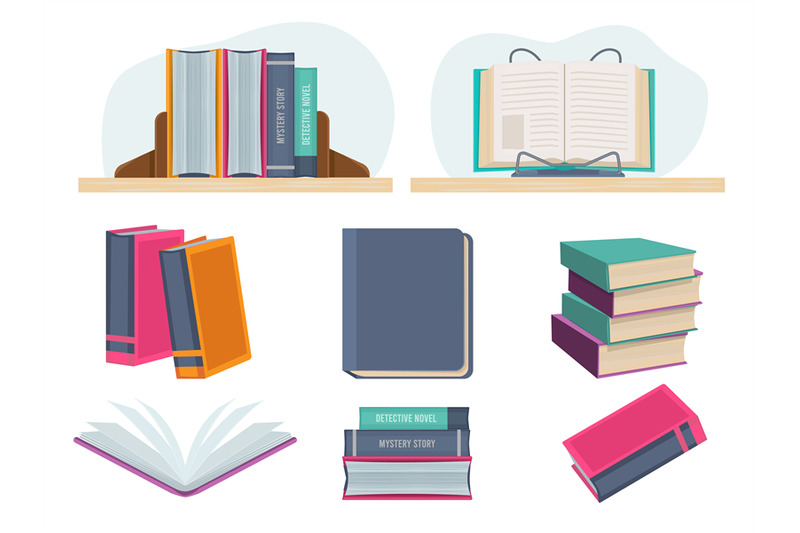 books-closed-opened-library-old-books-pages-of-magazine-vector-cartoo