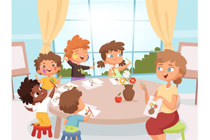 drawing-art-class-teacher-with-kids-creativity-kindergarten-art-lesso