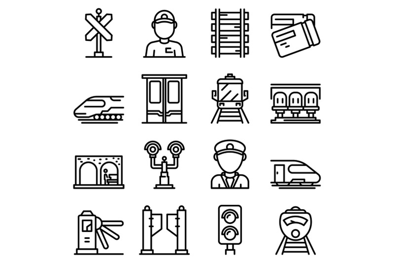 electric-train-driver-icons-set-outline-style