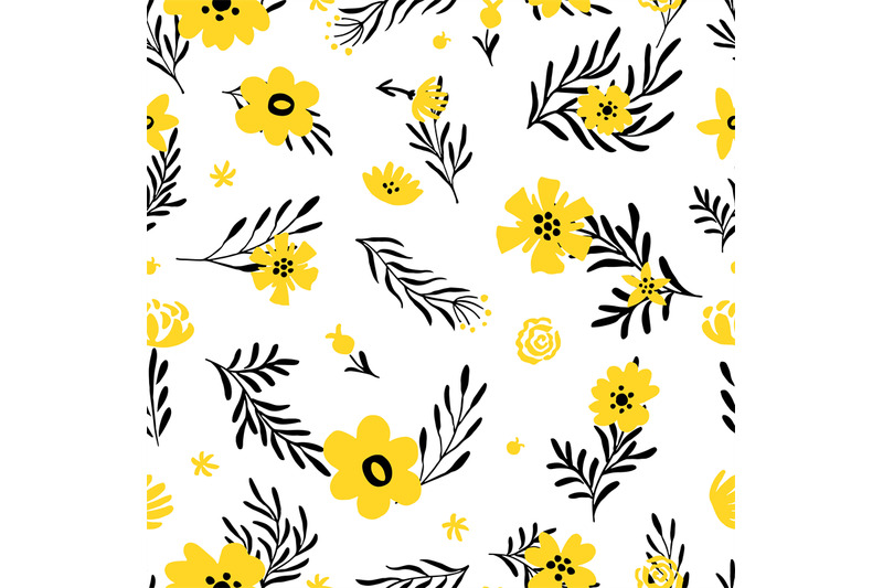 yellow-flower-pattern-doodle-spring-background-with-floral-elements