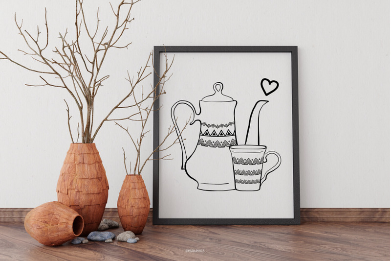 decorated-kitchen-tableware-vector-illustrations