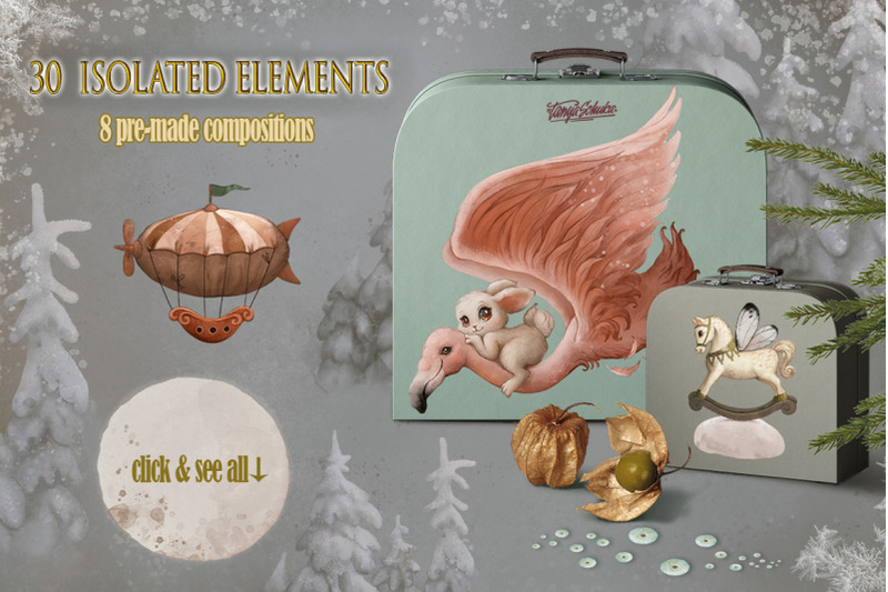 digital-watercolor-vintage-set