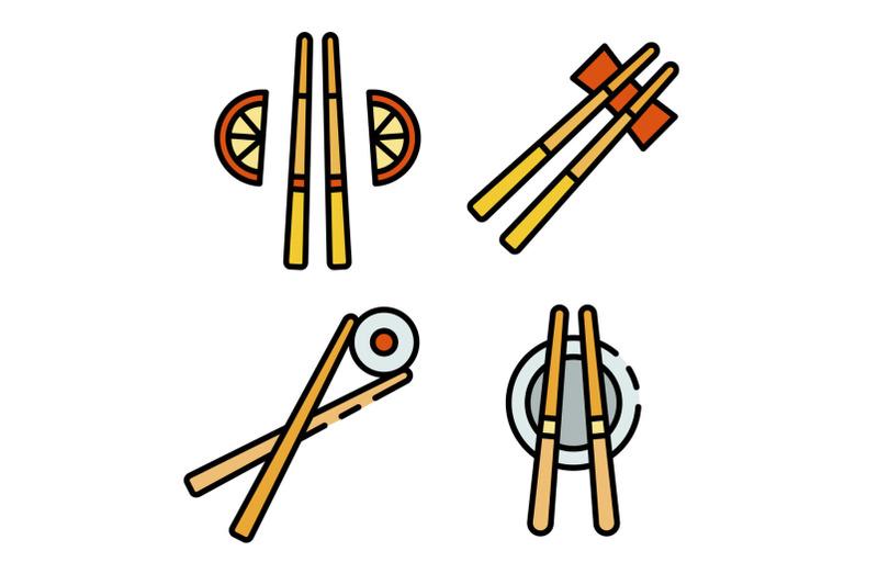 chopsticks-icons-set-vector-flat