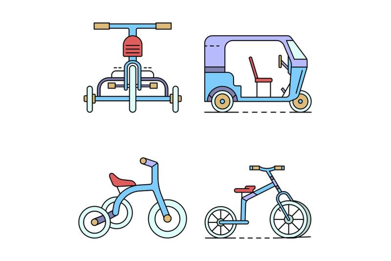 tricycle-icon-set-line-color-vector