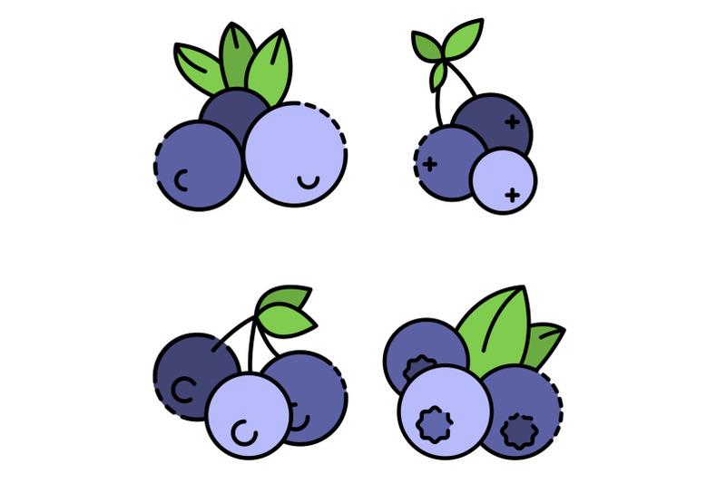 bilberry-icon-set-line-color-vector