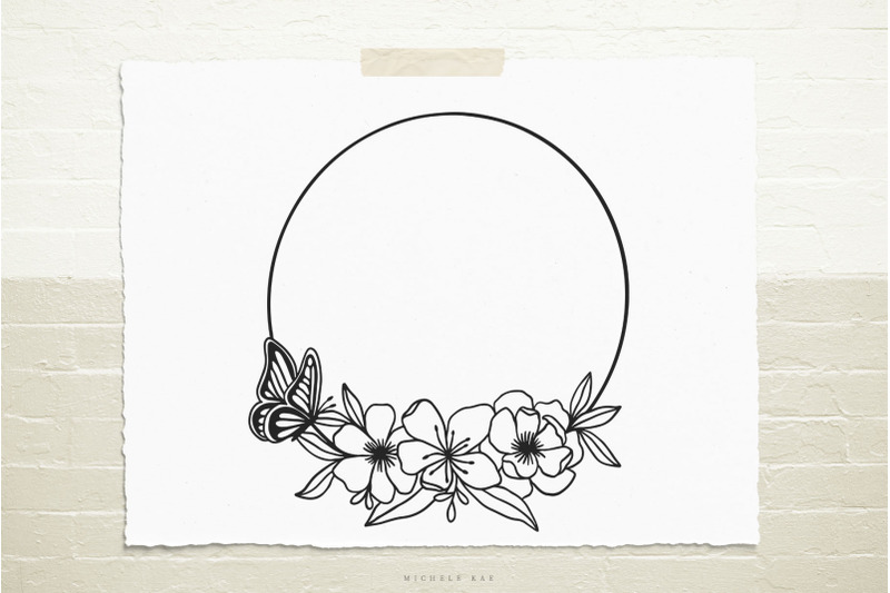 wreath-with-flowers-and-butterfly-svg-cut-file