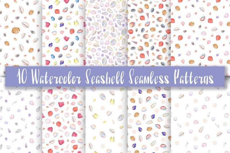 watercolor-seashell-seamless-patterns-set