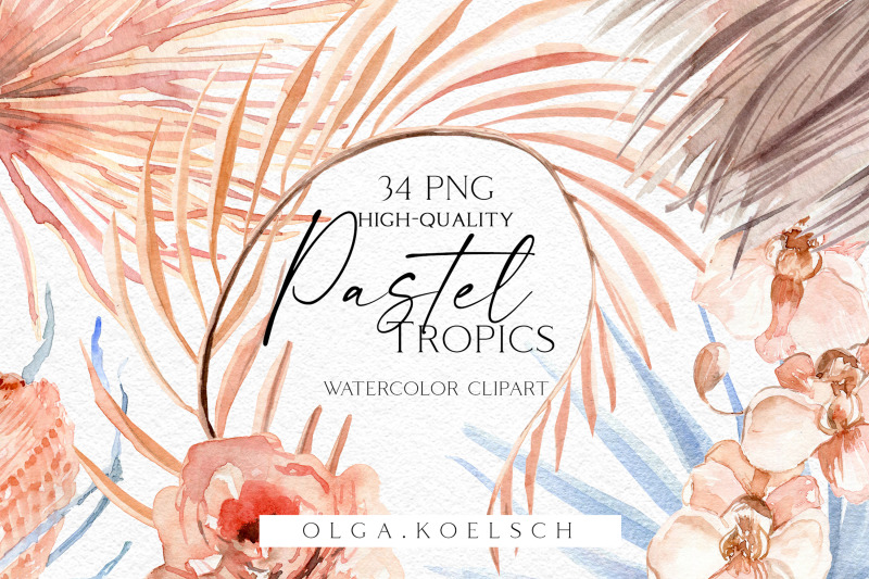 watercolor-boho-tropical-clipart-dusty-pink-roses-and-dried-palm-leaves-png-beach-clipart-for-wedding-new-baby-girl