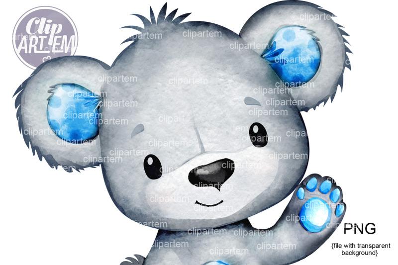 friendly-blue-bear-hand-up-waving-clip-art-bear-boy-image-png