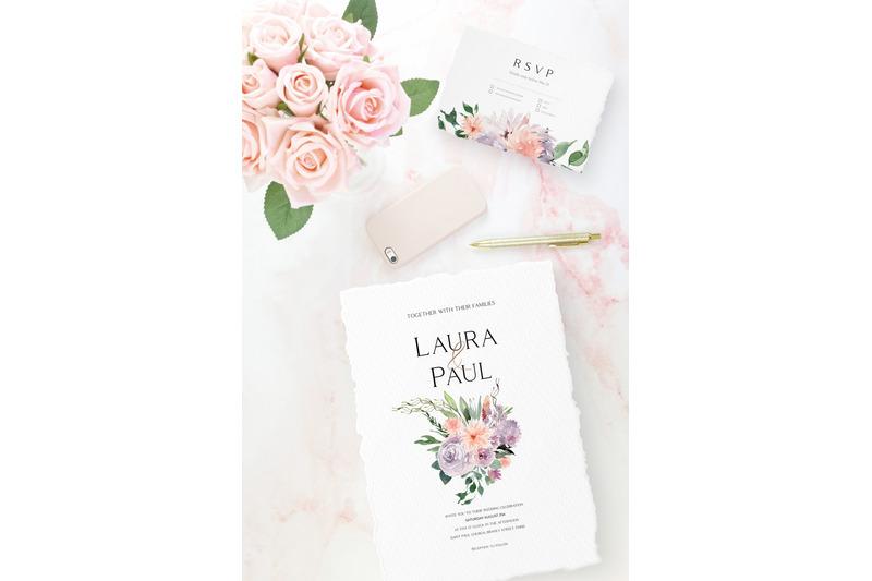 dusty-purple-boho-bouquets-clipart-watercolor-peach-and-purple-floral