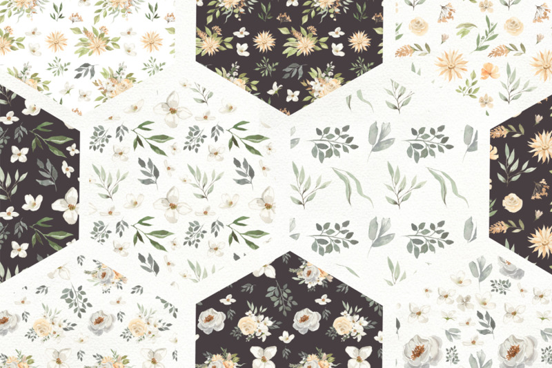 vanilla-summer-watercolor-bouquets-frames-patterns