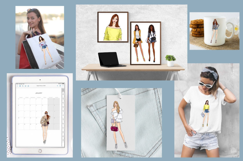 girls-in-shorts-fashion-clipart-set