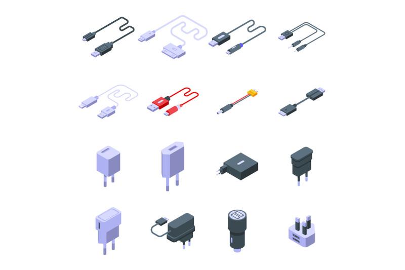 charger-icons-set-isometric-style