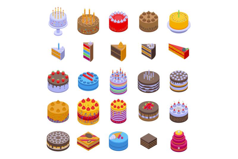 cake-icons-set-isometric-style