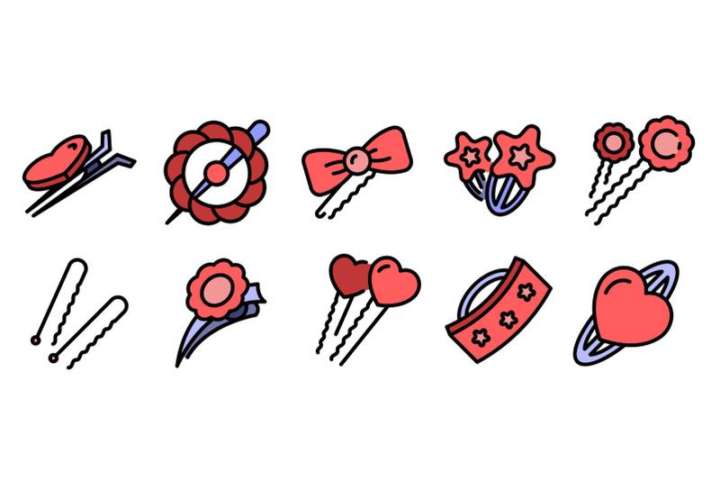 barrette-icons-set-vector-flat