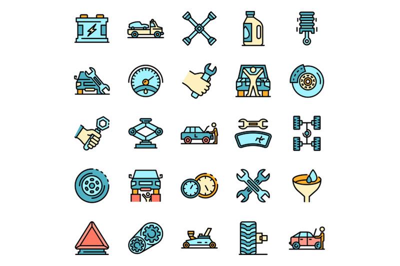 auto-mechanic-icons-set-vector-flat