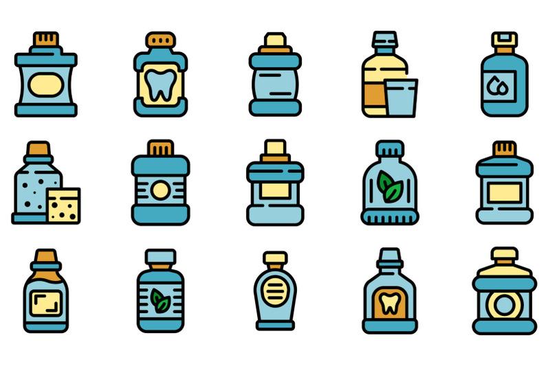 mouthwash-icons-set-vector-flat