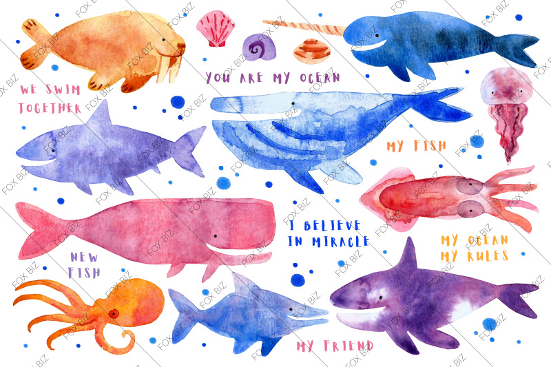 sea-creatures-animals-watercolor-illustration-and-pattern