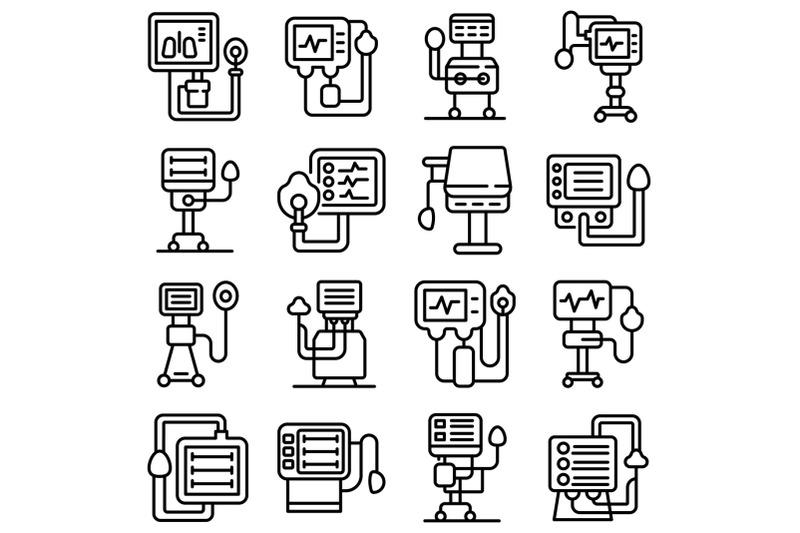 ventilator-medical-machine-icons-set-outline-style