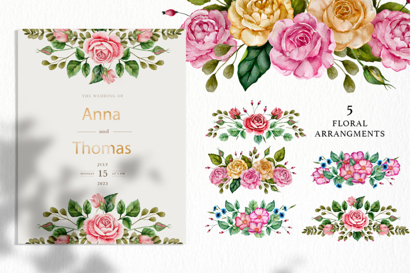 rose-watercolor-flowers-and-golden-alphabet