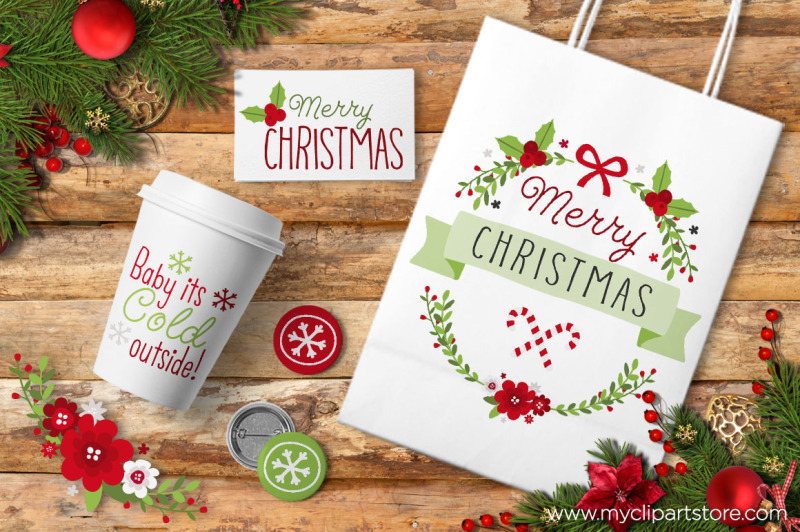 whimsical-christmas-flowers-and-wreaths-vector-clipart