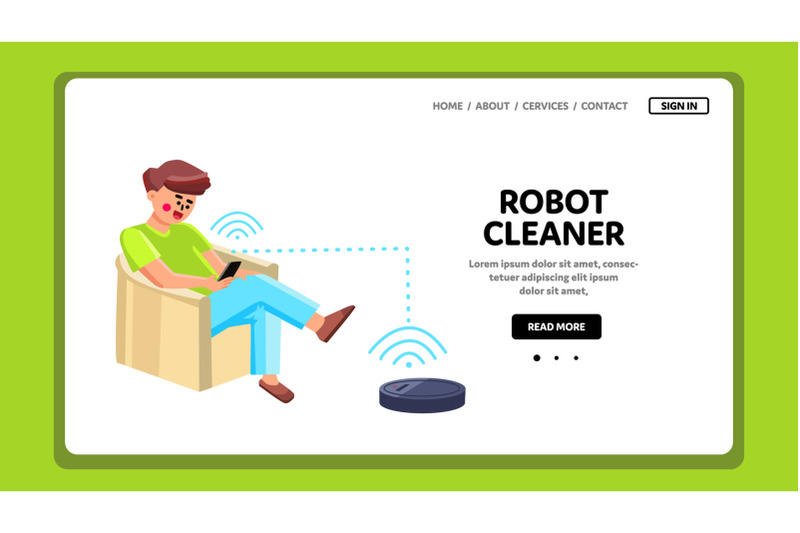 robot-cleaner-man-control-with-phone-app-vector