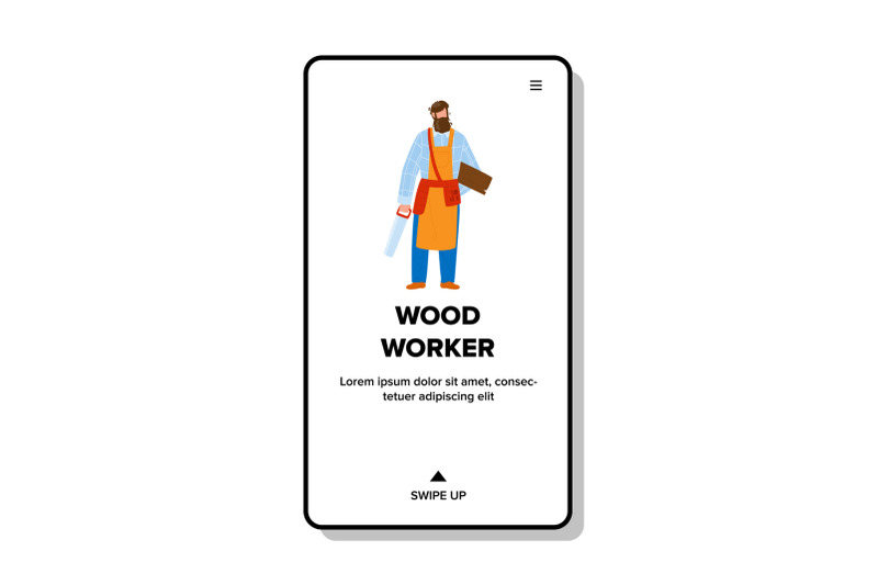 wood-worker-man-stay-with-saw-and-board-vector