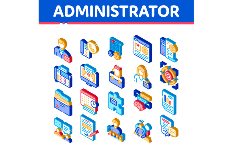 administrator-business-isometric-icons-set-vector