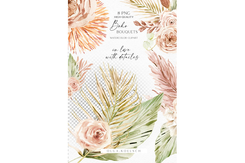 watercolor-boho-dried-flower-clipart-palm-boho-roses-bouquets-png