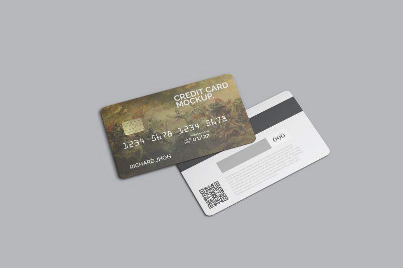 Download Floating Credit Card Mockup Free Mockups