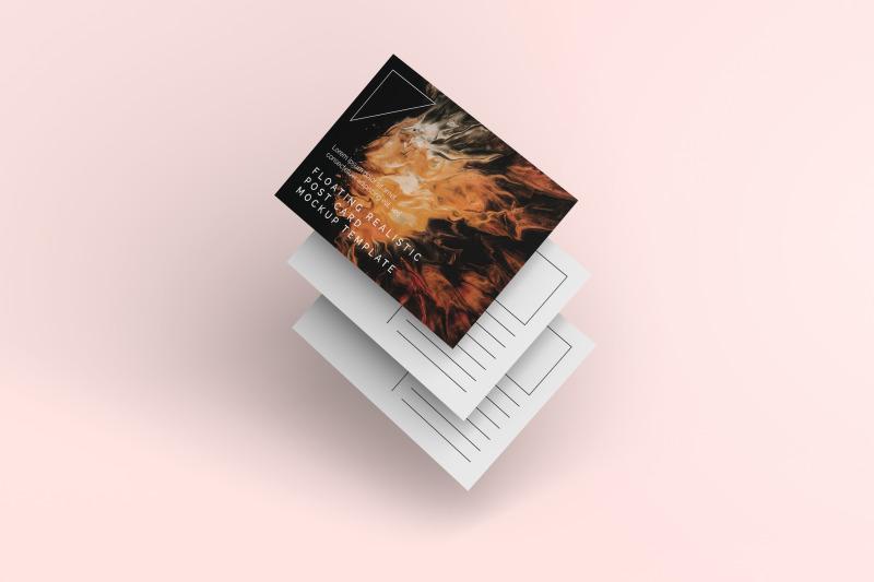 Download Floating Realistic Post Card Mockup Free Mockups