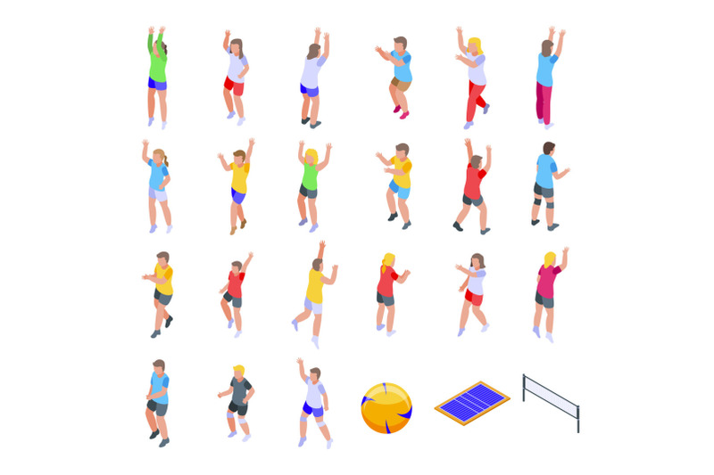kids-playing-volleyball-icons-set-isometric-style