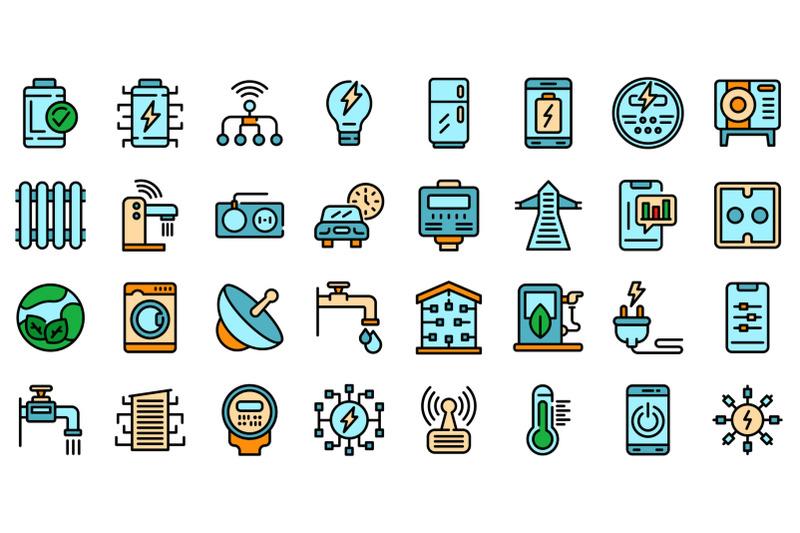 smart-consumption-icons-set-vector-flat