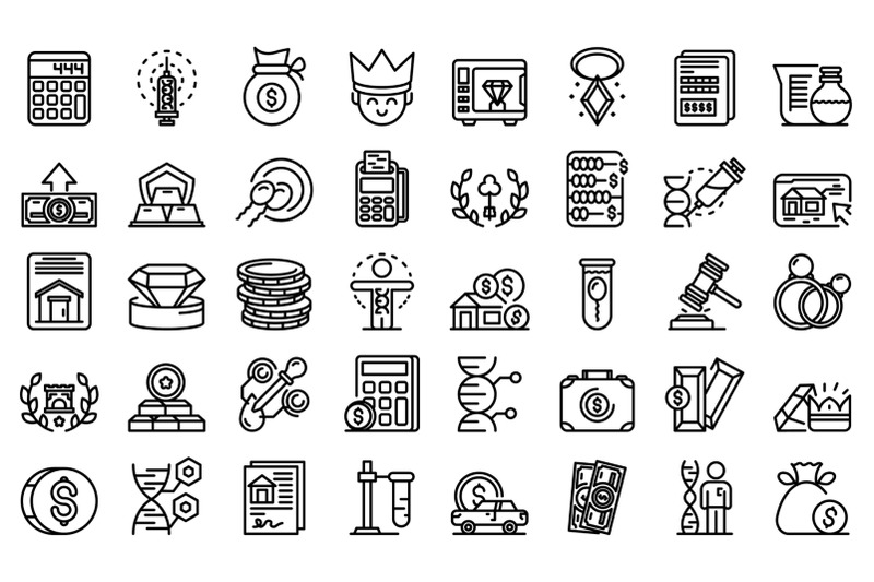 inheritance-icons-set-outline-style