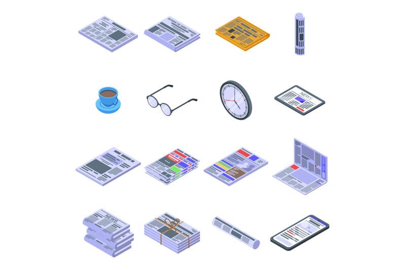 newspaper-icons-set-isometric-style